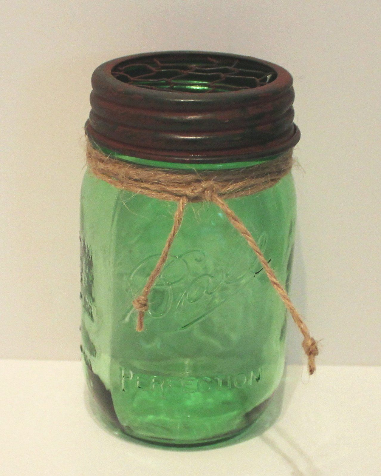 Green Ball Mason Jar with RustGreen Chicken