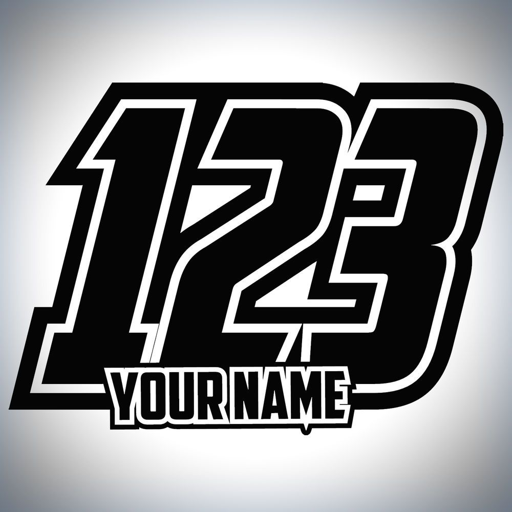 3 x Custom Race Numbers And Name Stickers Motocross Kart Decals MX Dirt Bike 26b4f1e689d63