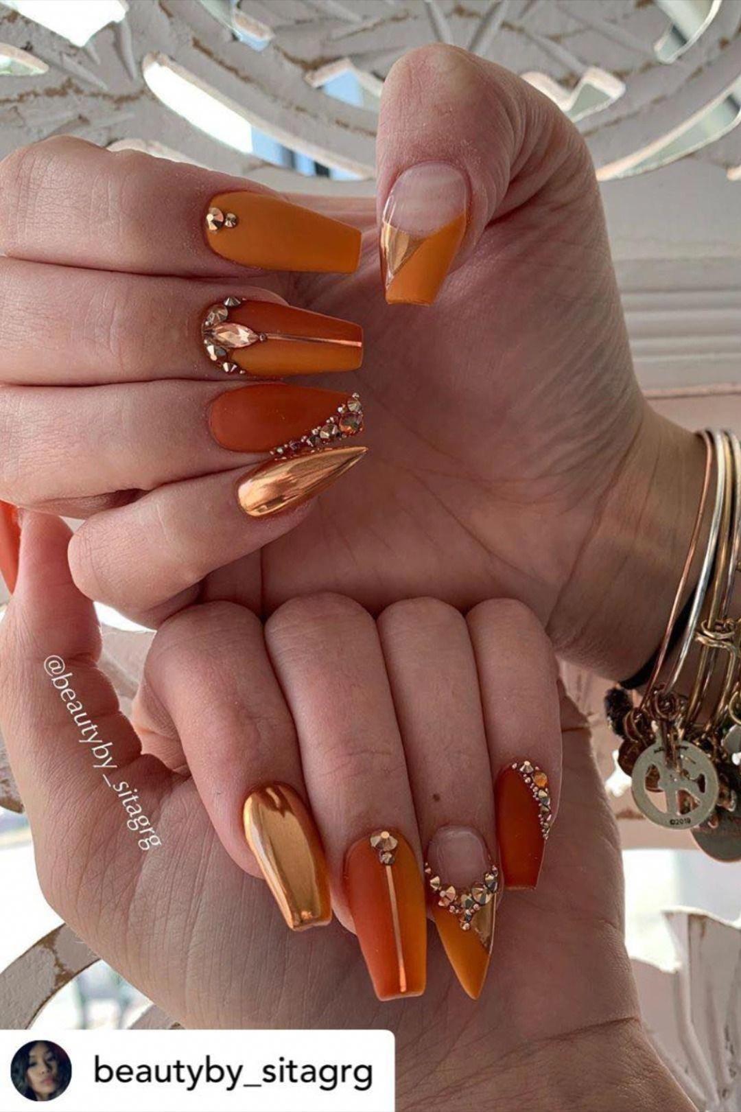 Orange Nails Fall Acrylic Nails Gorgeous Nails Orange Nails