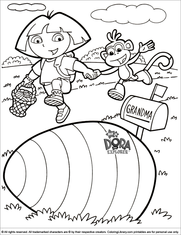 Dora The Explorer Easter Cartoon Coloring Page