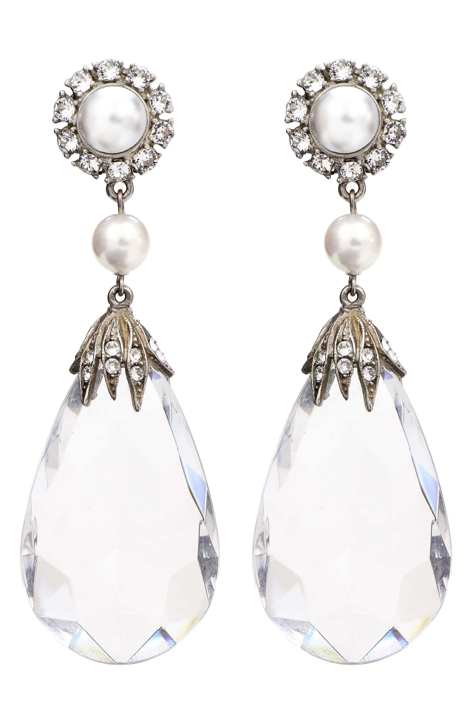 Imitation Pearl Crystal Clip Earrings Main Color Clear Silver