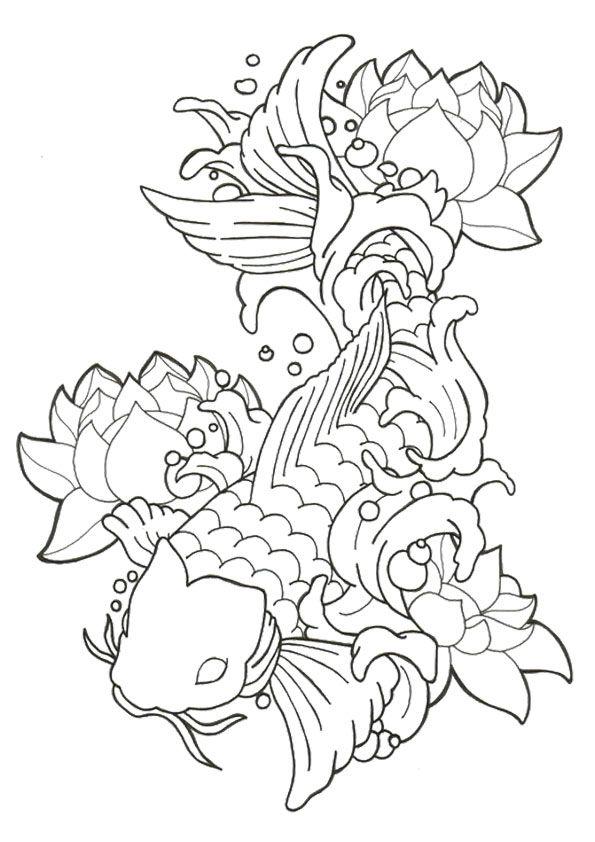 Print Coloring Image Momjunction Koi Fish Drawing Koi Fish Tattoo Fish Drawings
