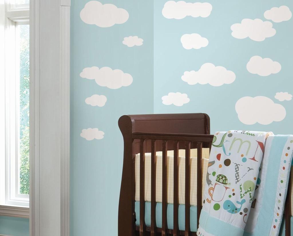 RoomMates väggdekor, wallies, stickers, väggdekoration - Fluffiga moln från RoomMates