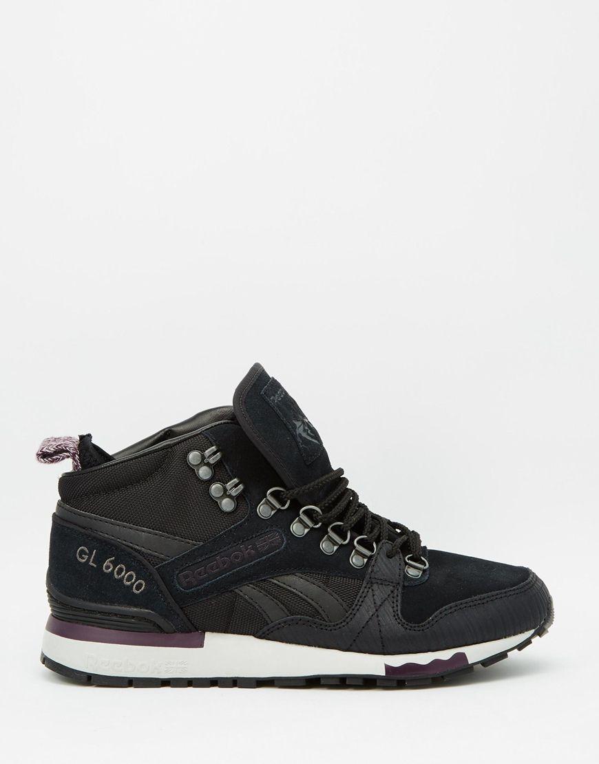 Reebok Gl 6000 Mid Black Purple Trainers At Asos Com Purple Trainers Purple Sneakers Sneakers