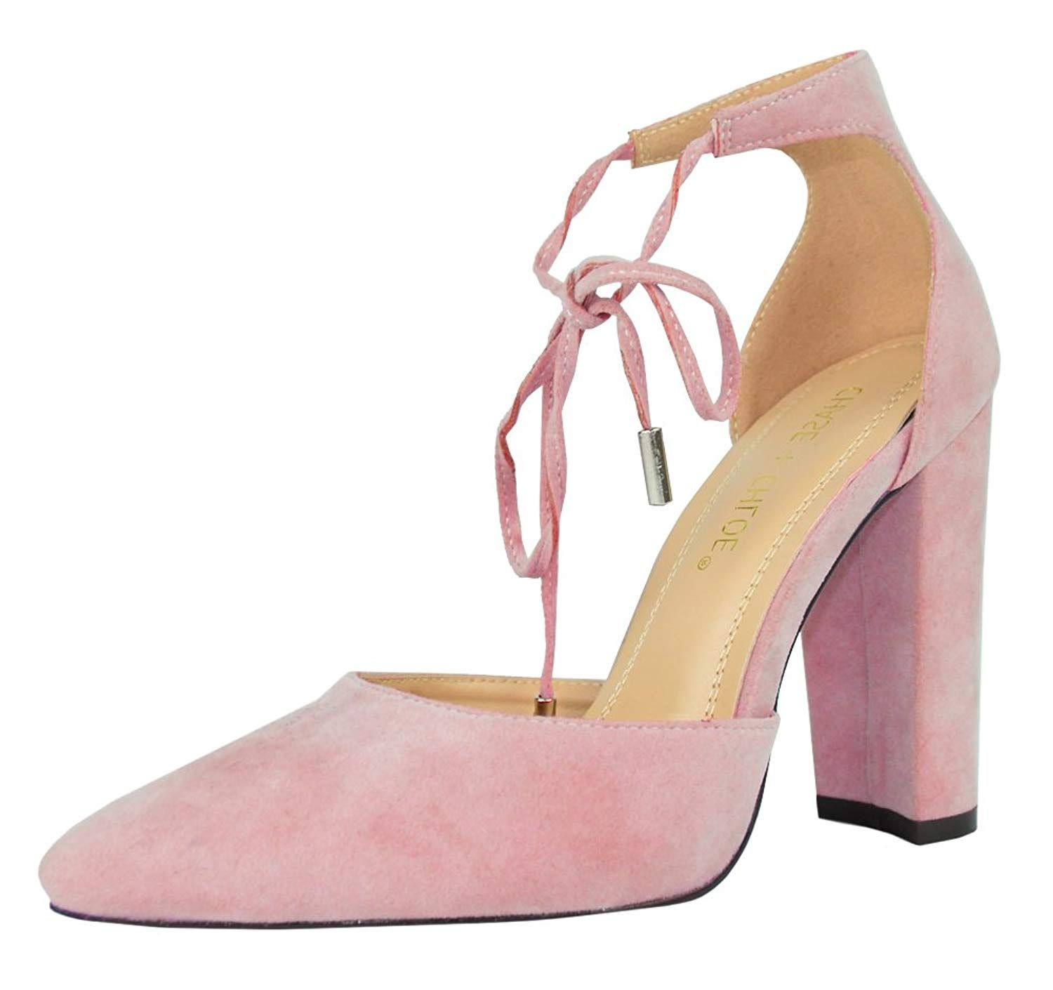 4523c4cb45d Chase   Chloe Holland-1 Women s D Orsay Pointed Toe Ankle Tie Stacked Block