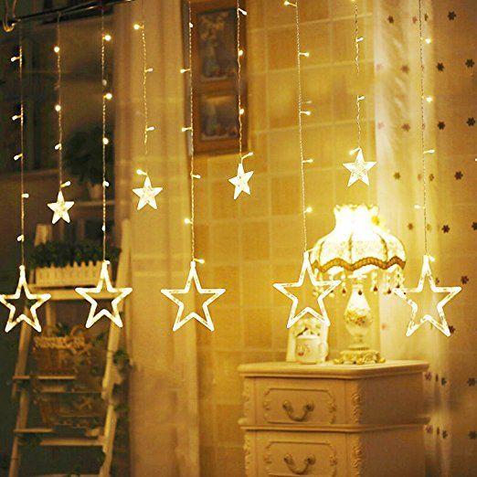 Schriftzug Frohe Weihnachten Beleuchtet.Ulinek 2m 12 Sterne Lichterkette Sternenvorhang 138 Leds