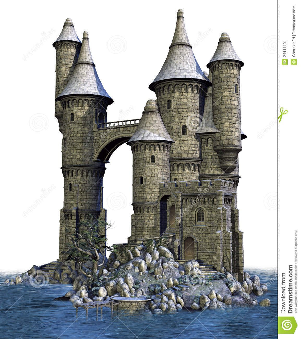 Fantasy castle on an island architecture castles for Small castle designs