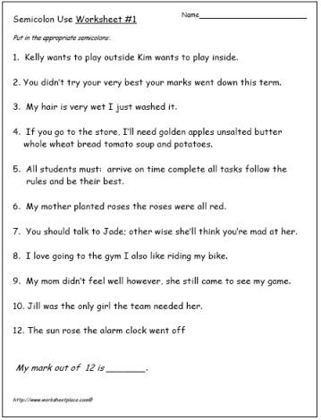 semicolon writing activity for 3rd