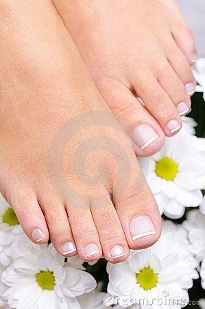 Feet With The French Pedicure And Flowers Toes Lips