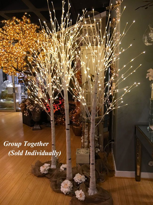 7 Foot White Birch Tree 240 Warm White Led S Birch Tree Decor Tree Branch Decor White Birch Trees