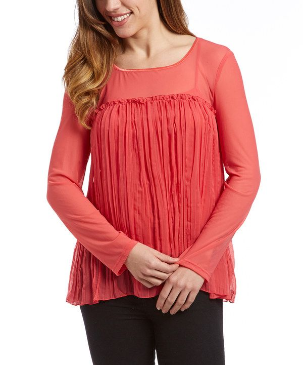 Look at this Samuel Dong Coral Sheer Pleated Top on #zulily today!