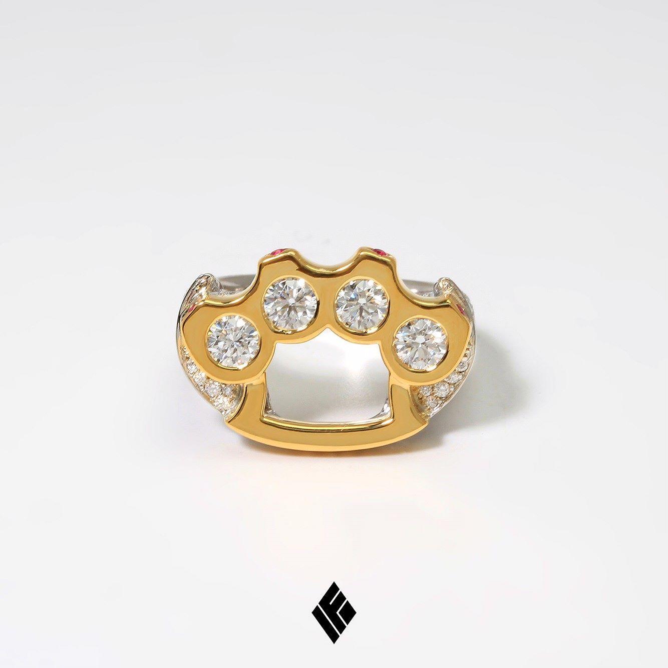 Established 18kt gold two piece Yin Yang ring with diamonds - Metallic 7E4NEu