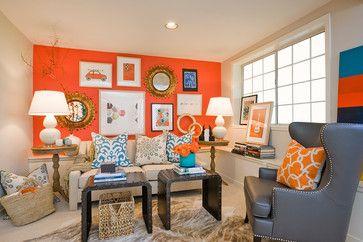 Orange Blue And Gray Living Room