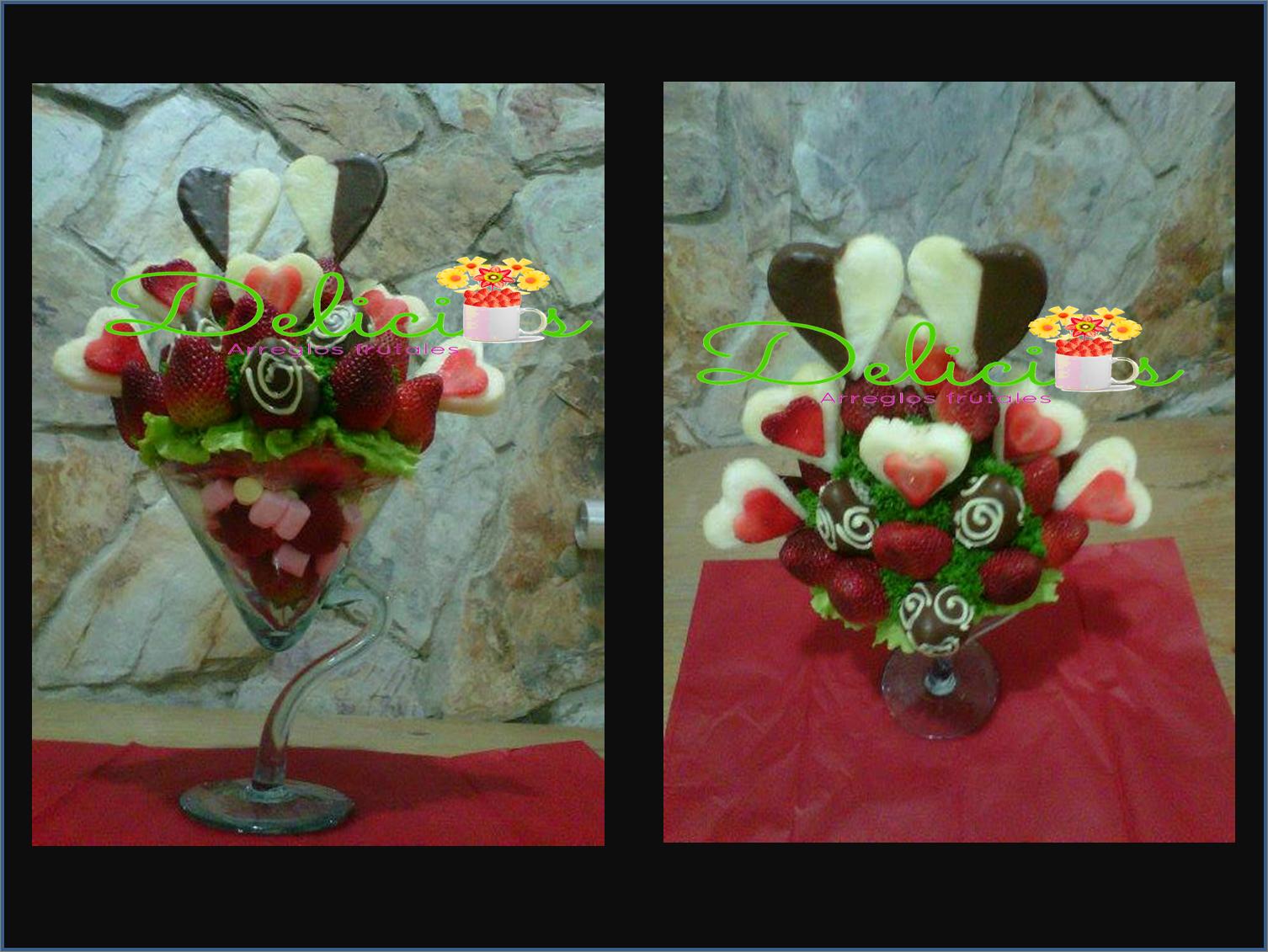 Corazones de frutas en copa de vidrio arreglos bouquets for Copas de cristal