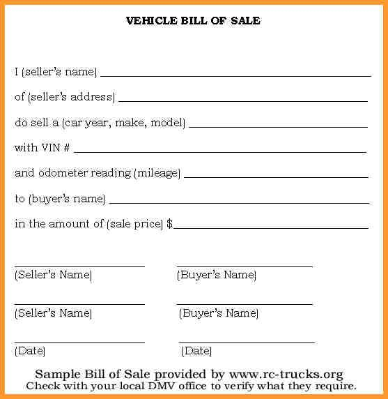 Bill Of Sale For A Vehicle Check more at