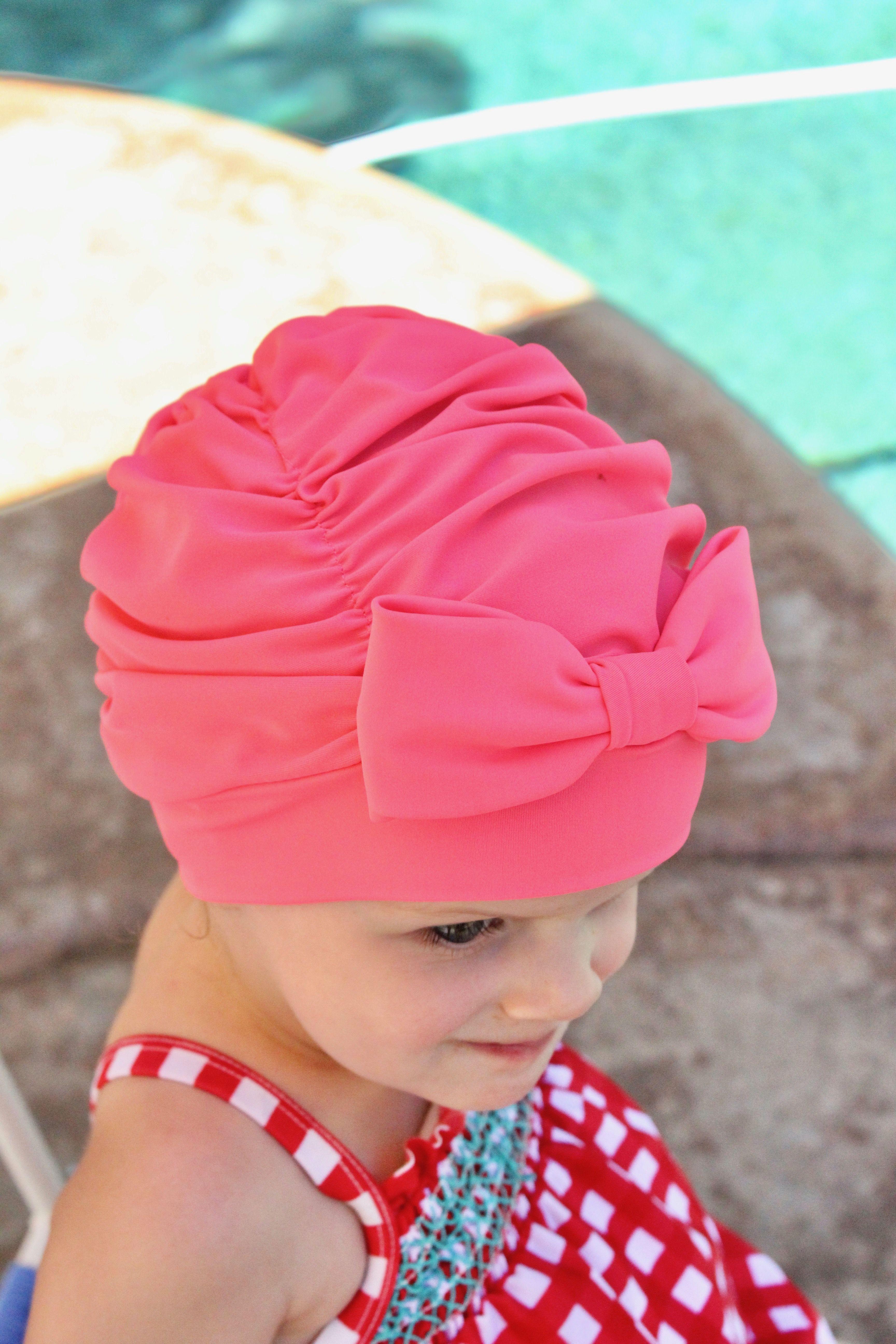 Electric pink Ruched Swim Cap, Swim cap, Baby swim cap
