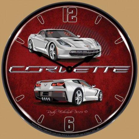 Horloge Murale Lumineuse Rétro-Éclairé Chevrolet Corvette C7 Couleur Blade Silver