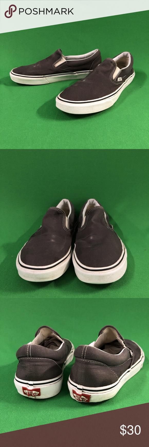 06b3ee3dad Vintage grey canvas Vans slip-ons Vintage grey canvas slip on Vans. There is