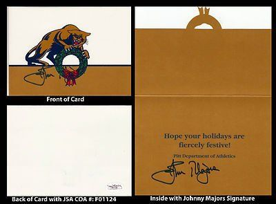 Johnny Majors Signed University of Pittsburgh Panthers Holiday Card JSA COA . $75.00. College Football Hall of Fame CoachJohnny MajorsHand Signed Vintage University of Pittsburgh Holiday CardMajors Coached:Tennessee (GA) 1957Tennessee (backfield) 1958-1959Mississippi State (DB) 1960-1963Arkansas (asst) 1964-1967Iowa State 1968-1972Pittsburgh 1973-1976Tennessee 1977-1992Pittsburgh 1993-1996Majors was inducted into the College Football Hall of Fame in 1987.GREAT AUTH...
