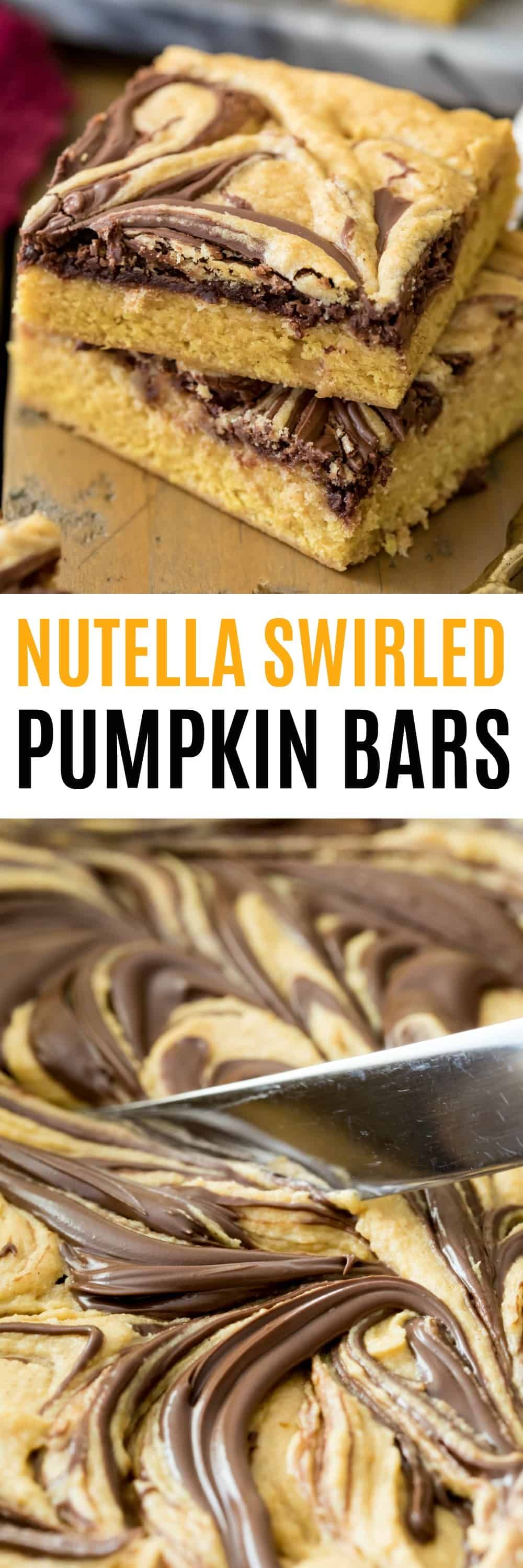 Nutella Swirled Pumpkin Bars are a perfect Fall treat! They're soft and chewy with irresistible pumpkin spice flavors and a ribbon of Nutella!