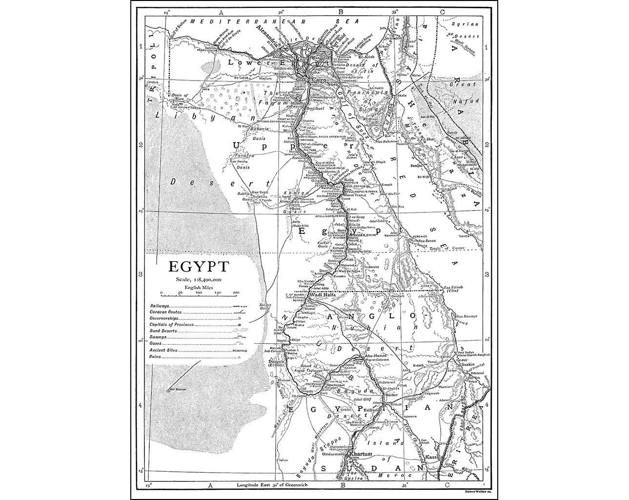 Alexandria Egypt World Map.Egypt Print Of Pre World War I Antique Map Monochrome On Photo