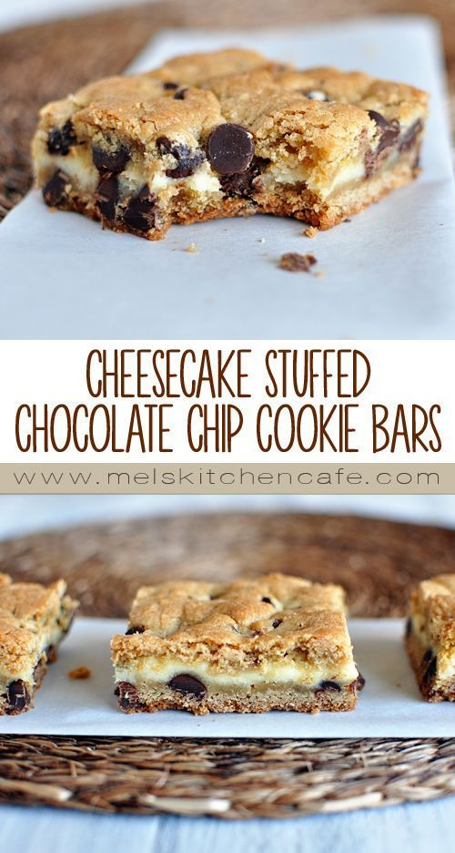 Stuffed Chocolate Chip Cookie Bars These Cheesecake Stuffed Chocolate Chip Cookie Bars are absolutely wonderful.These Cheesecake Stuffed Chocolate Chip Cookie Bars are absolutely wonderful.