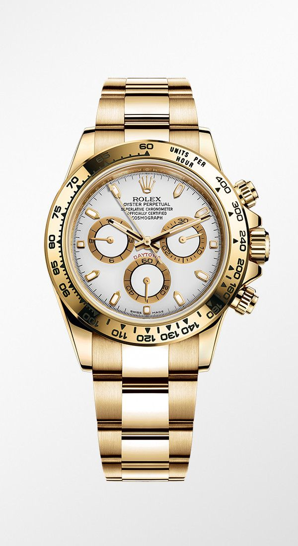 14063e7b242 Rolex Cosmograph Daytona in 18ct yellow gold with a white dial ...