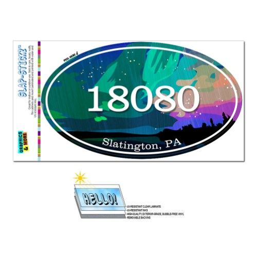 18080 Slatington Pa Aurora Borealis Oval Zip Code Sticker