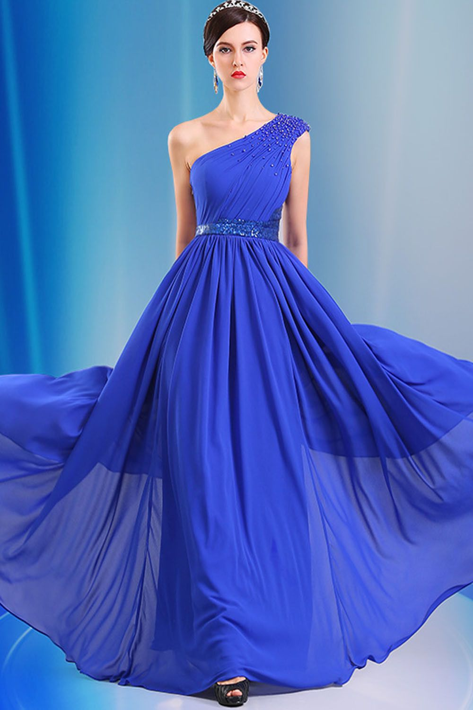One shoulder chiffon long royal blue simple prom dresses eveus