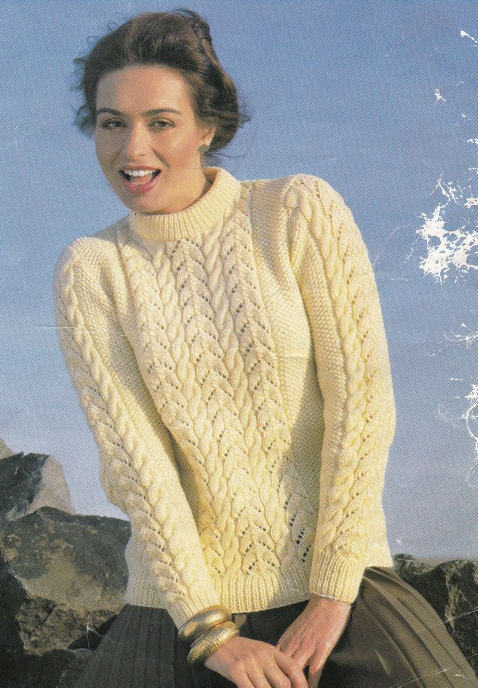Vintage Knitting Pattern Ladies Double Knit Cable Jumper LARGER ...
