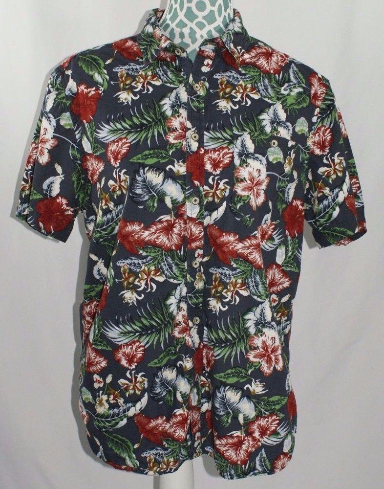 86995d3fa Denim & Flower Hawaiian Shirt Red Floral Aloha Tropical Slim Fit Leaf Mens  L #DenimFlower #Hawaiian
