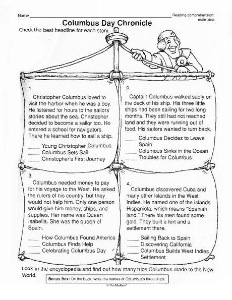 Columbus Day Worksheet Main Idea The Mailbox Days Worksheet Day Main Idea Main idea and theme worksheets