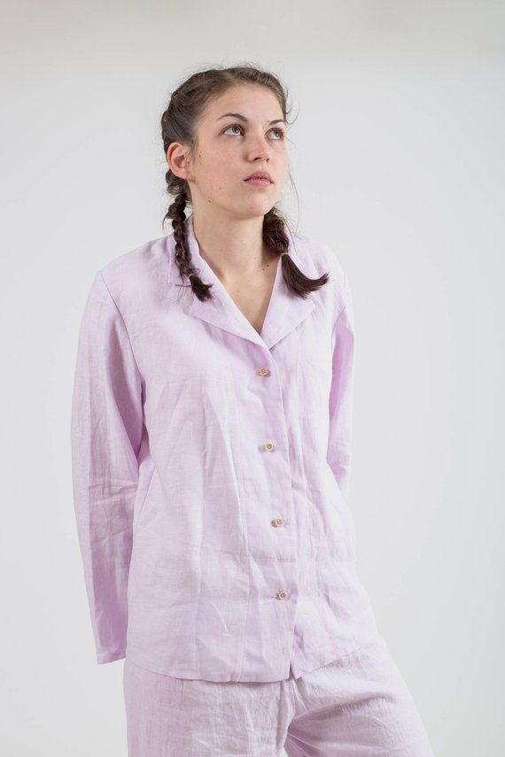 34f1b28a9 Womens linen shirt with buttons. Boyfriend style natural linen shirt long  sleeve. Organic shirt for