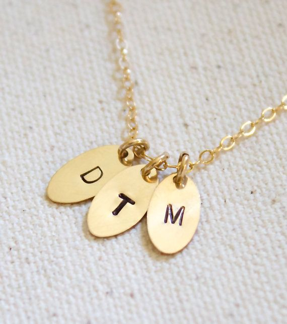 Family Initial Necklace Gold Oval Necklace by MiyulaStudio on Etsy