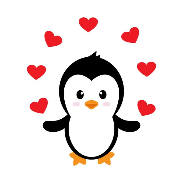 Cartoon Cute Penguin With Love Vector Illustration 06 Cute Penguin Cartoon Penguin Illustration Penguin Drawing