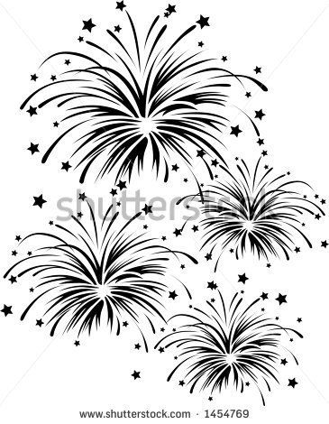 vector silhouette graphic depicting a fireworks display