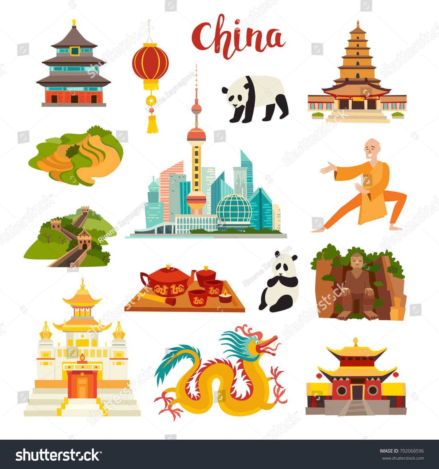 China Landmarks Vector Icons Set Illustrated Travel