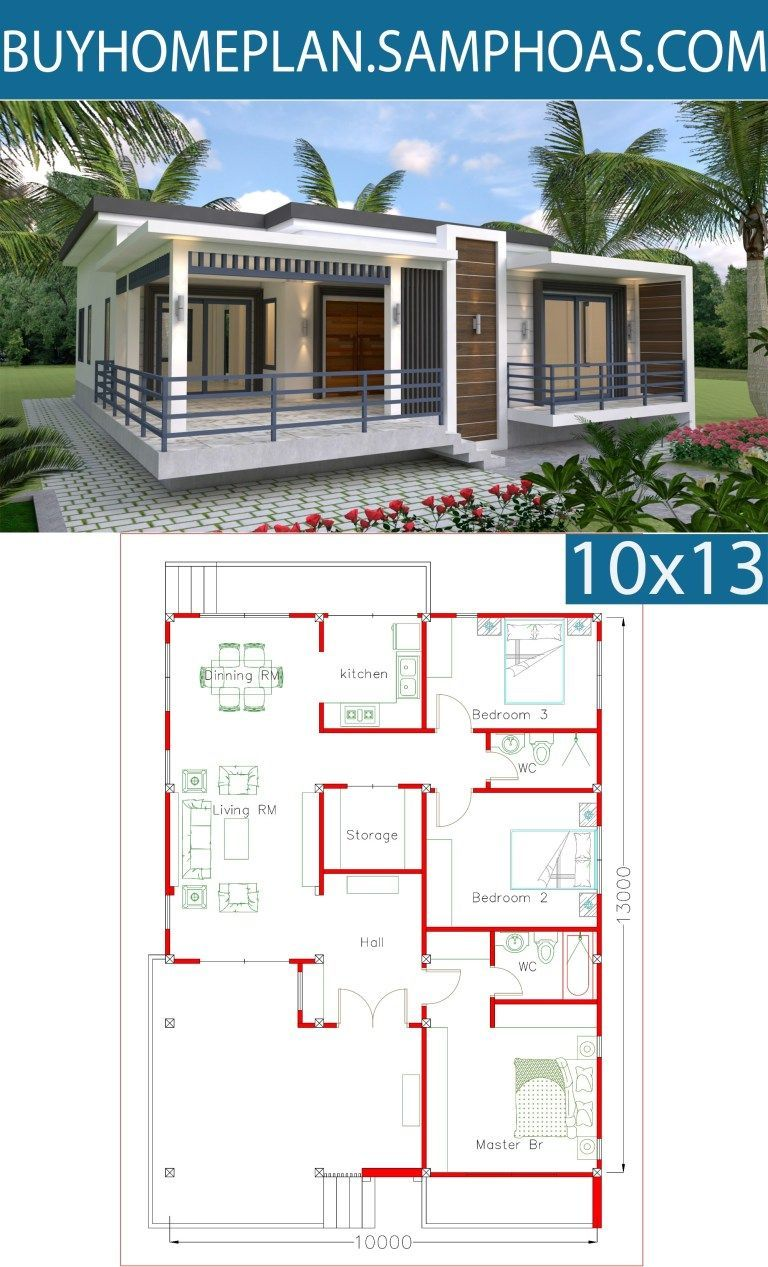 Sketchup Home Design Plan 10x13m With 3 Bedrooms House Design Photos Home Design Plan Bungalow House Design