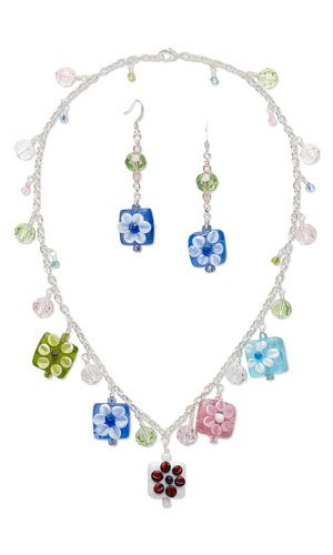 Single-Strand Necklace and Earring Set with Glass and Lampworked Glass Beads and Silver-Plated Steel Chain
