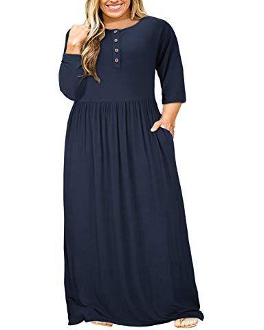b653c5e96d15 Nemidor Women Short Sleeve Loose Plain Casual Plus Size Long Maxi Dress  with Pockets at Amazon Women's Clothing store: