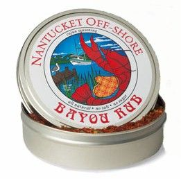 Nantucket Off-Shore Bayou Rub 2.5 oz.  Secret seasoning blends are the personal stamp of revered Cajun and Creole cooks in Louisiana's backroads and delta. Nantucket Off-Shore's unique Bayou Rub is a rustic yet refined blend of sweet paprika and spicy hot pepper with savory thyme, oregano, garlic and onion, capturing the seductive essence of this great regional cuisine