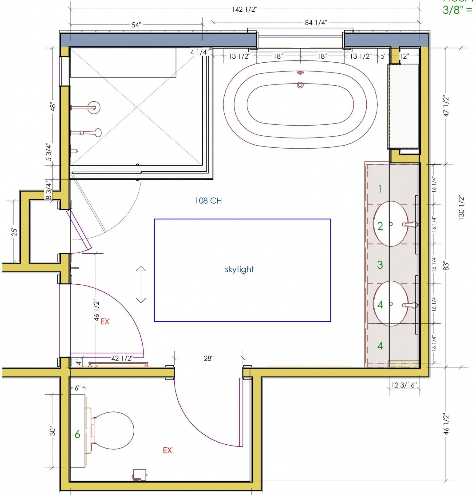 Attraktive Bad Plane Mit Kleinen Bad Design Mit Dusche Badezimmer Master Bathroom Layout Master Bath Layout Bathroom Design Layout