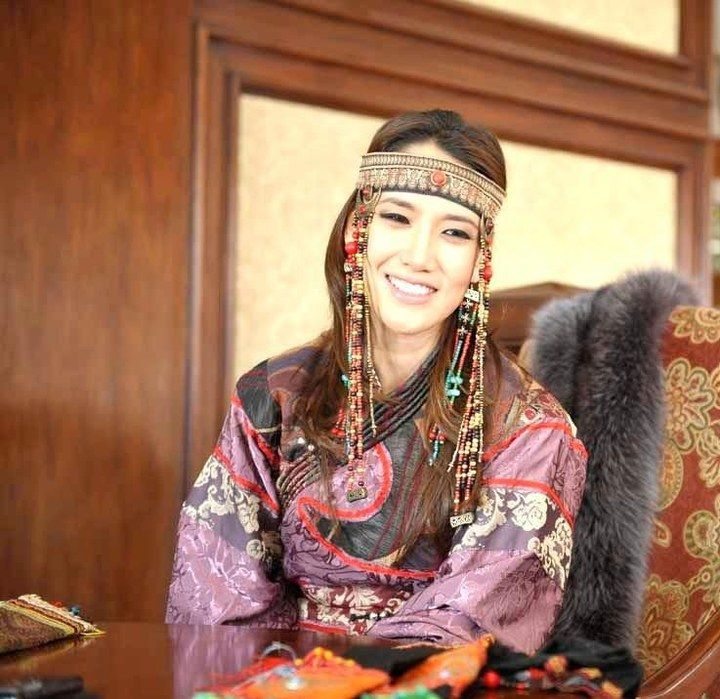 Mongolian Woman In Her Native Traditional Dress