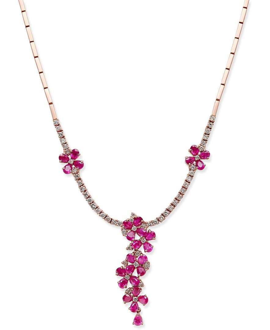 Rosa by Effy Ruby (5-1/8 ct. t.w.) and Diamond (1-1/2 ct. t.w.) Collar Necklace in 14k Rose Gold
