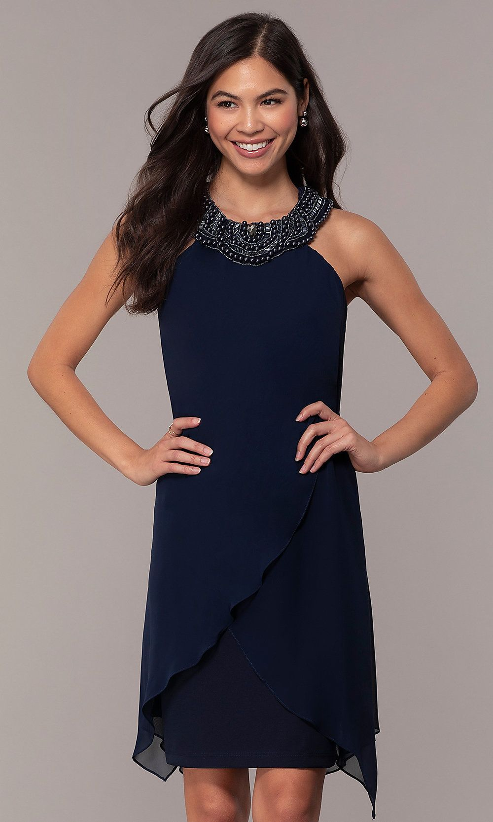 Beadedcollar short weddingguest dress by simply