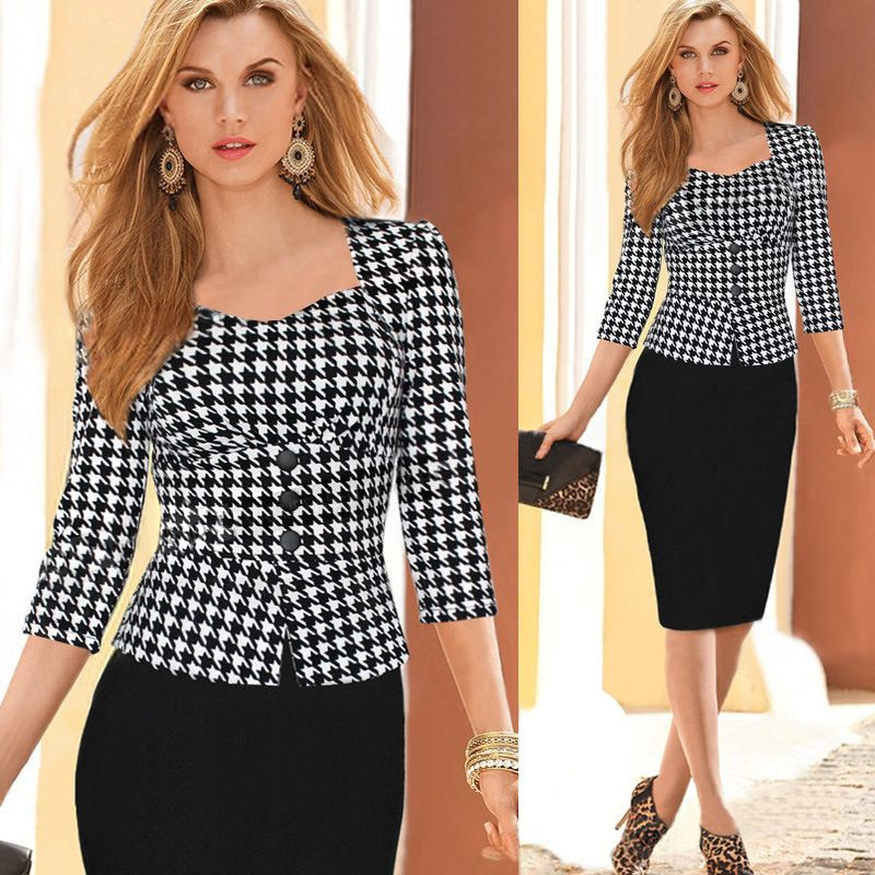 75efc71ae34 Women Autumn and Winter Dress Suits Elegant Business Suits Formal Office  Suits Work Wear Tunics Knee Length Pencil Bodycon Dress   Nice plus size  clothing ...