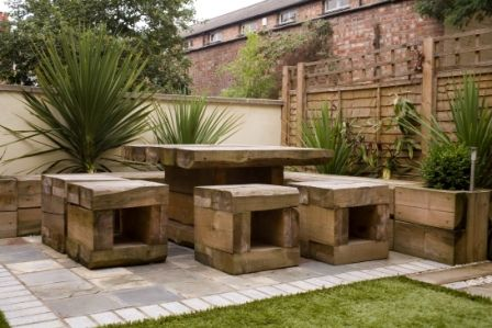 outdoor patio seatstable using railway sleepers