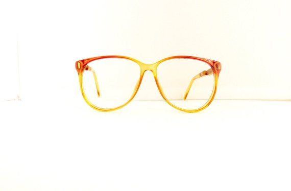 38efc54fd5 Christian Dior Eyeglasses Frames    Women s 1990 s   Orange Yellow Fade Out  with Gold Frames    Made