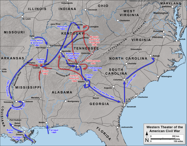 Map us states during the civil war 1861