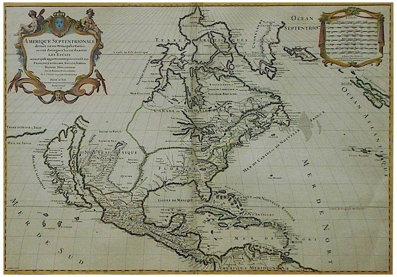 """""""Amerique Septentrionale Divisee en ses Principales Parties..."""", Alexis Hubert Jaillot (French, 1632-1712), 1695"""